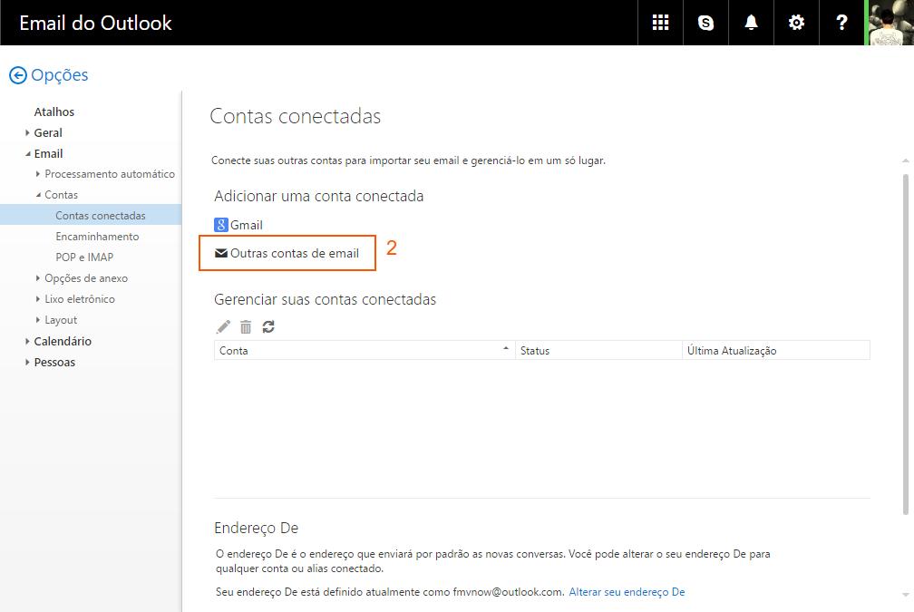 Outlook - outras contas de e-mail