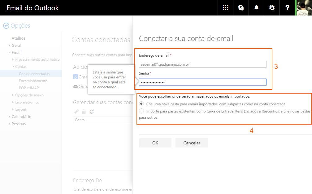 Outlook - conectar conta de e-mail alternativa