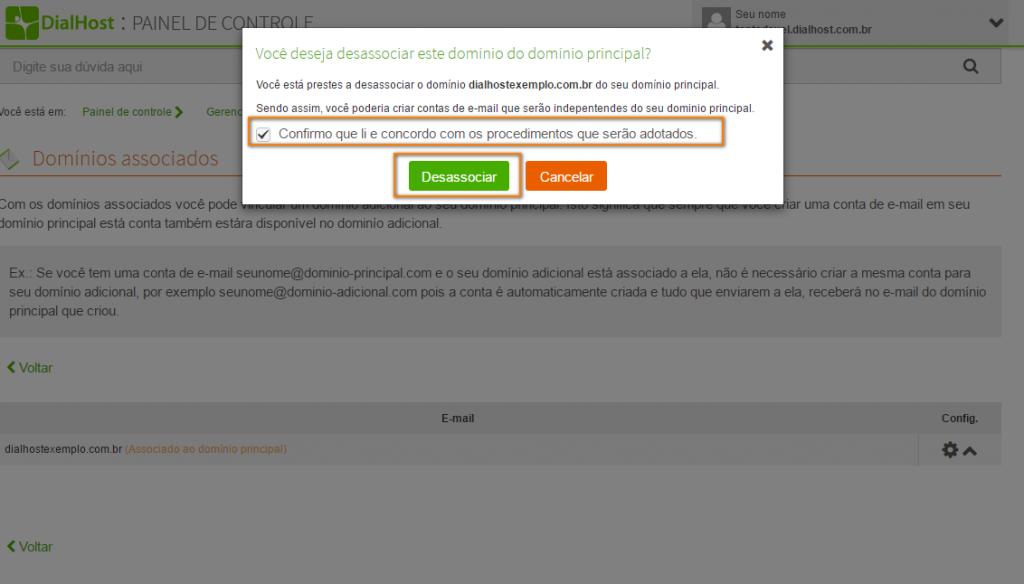 remover a associação de e-mail