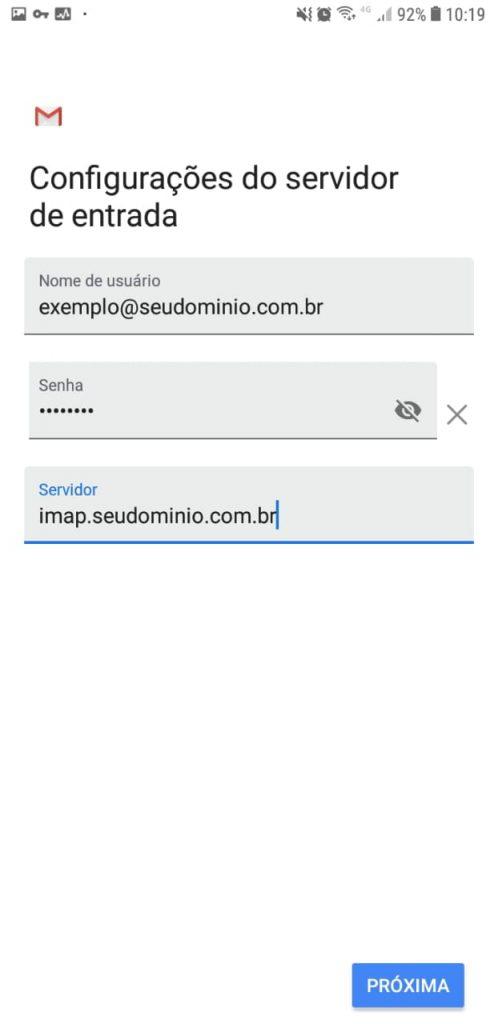 configurar e-mail no Android 8.0