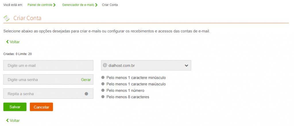 Como criar uma conta de e-mail na DialHost