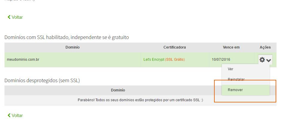 desativar o Certificado SSL
