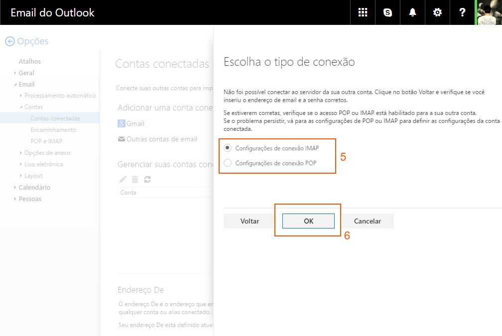 Outlook - tipos de conexão IMAP  e POP