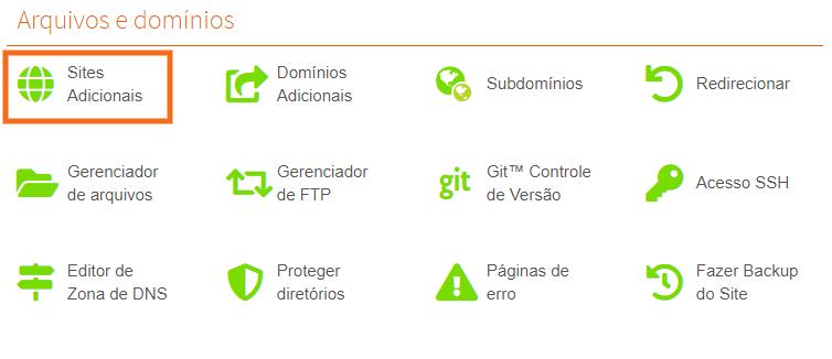 painel de controle de sites adicionais