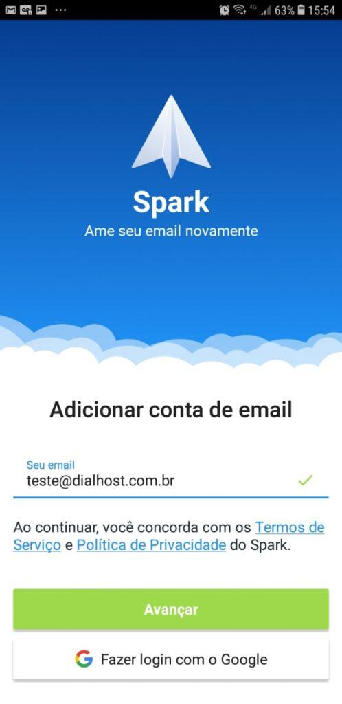 Sparke mail - adicionar e-mail