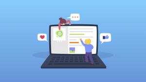 Ilustração de duas crianças mexendo em um notebook gigante, atualizando um site feito em WordPress.