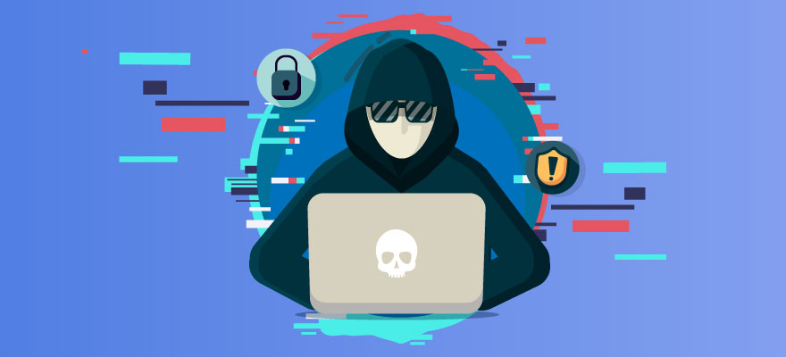 Ilustração de um hacker mexendo no computador.
