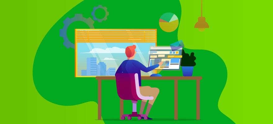 homem em seu escritório sentado em uma cadeira e mexendo em um computador criando um site
