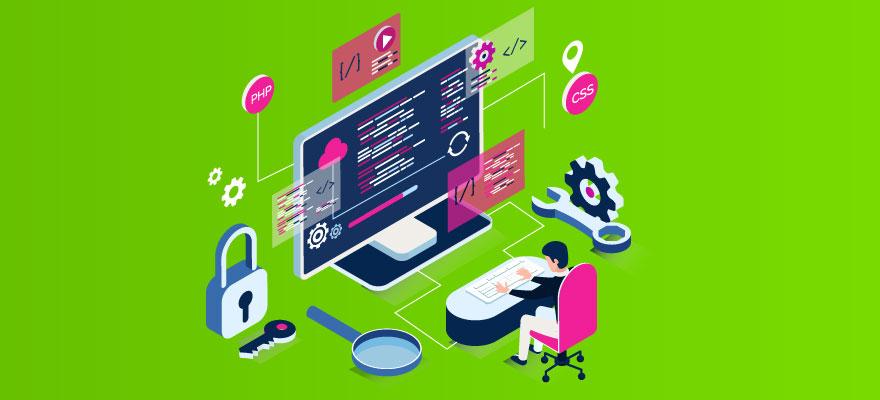 fundo verde, com uma tela grande de computador e um homem mexendo no teclado com diversos objetos à sua volta, engrenagens, lupa, cadeado e outros