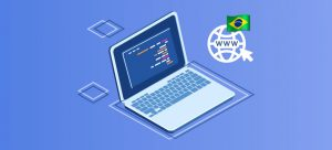 imagem de fundo azul com um notebook azul e branco, quadrados um globo e um cursor e bandeira do Brasil em cima