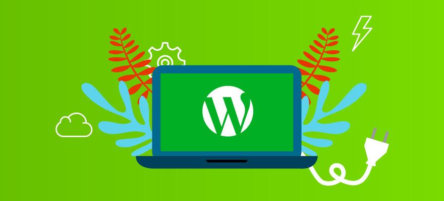 fundo verde com um notebook e a logo do wordpress com plugin, raios e galhos