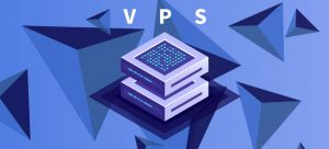 fundo azul com triangulos em 3d e a representação de um vps