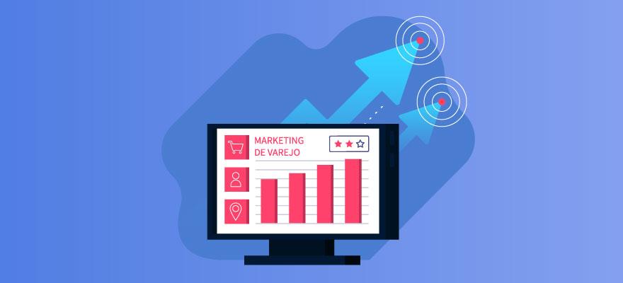 computador com gráficos aumentando e setas em direção ao alto indicando bons desempenhos do marketing de varejo