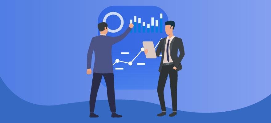 dois vetores de homens analisando metricas