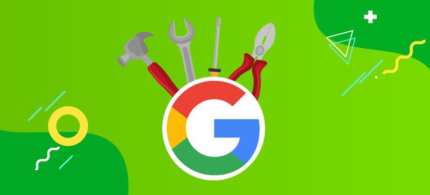 logo do google com ferramentas em volta