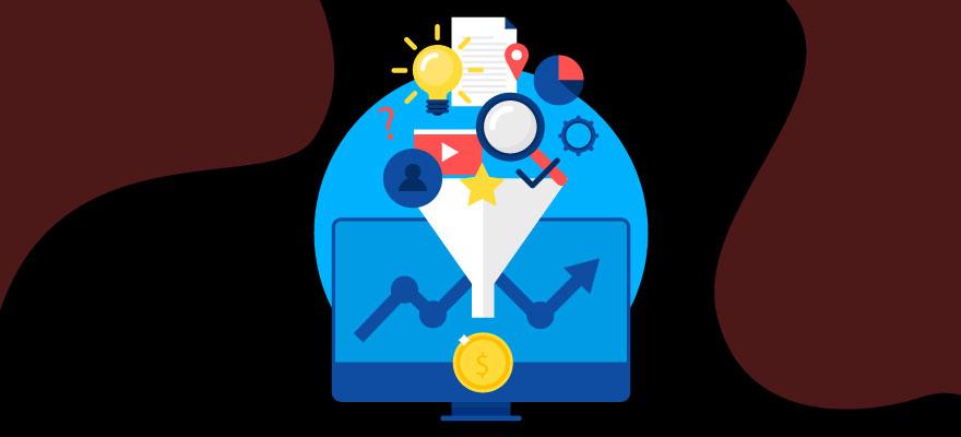 funil de captação de leads com vários icones: lupa, lâmpada, estrela e logo youtube